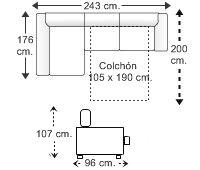 Sofá 2 plz. apertura italiana (colchón 105 x 190 cm.) y chaise longue arcón dcha..