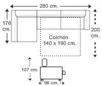 Sofá 3 plz. apertura italiana (colchón 140 x 190 cm.) y chaise longue arcón dcha..