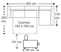 Sofá 3 plz. apertura italiana (colchón 140 x 190 cm.) y chaise longue arcón izqda..