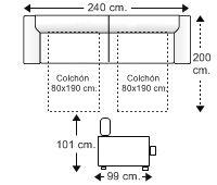 Sofá 4 plazas con 2 camas gemelas apertura italiana (colchones 80x190 cm.)
