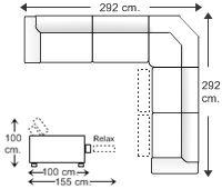 Rinconera simétrica 6 plazas con 2 relax motor izquierda.