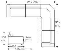 Rinconera simétrica 7 plazas con 2 relax motor izquierda.