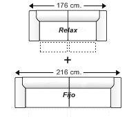 Conjunto sofá 2 relax motor + sofá 3 plazas fijo.