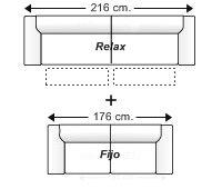 Conjunto sofá 3 plazas con 2 relax motor + sofá 2 plazas fijo.