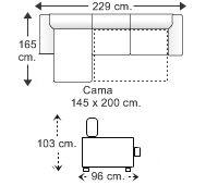 Sofá chaise longue cama con arcón brazos reducidos derecha.