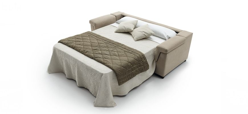 Cómodo sofá de 2 o 3 plazas de respaldo alto que incorpora una cama apertura italiana con colchón XL alto 16 cm. Para los más exigentes.