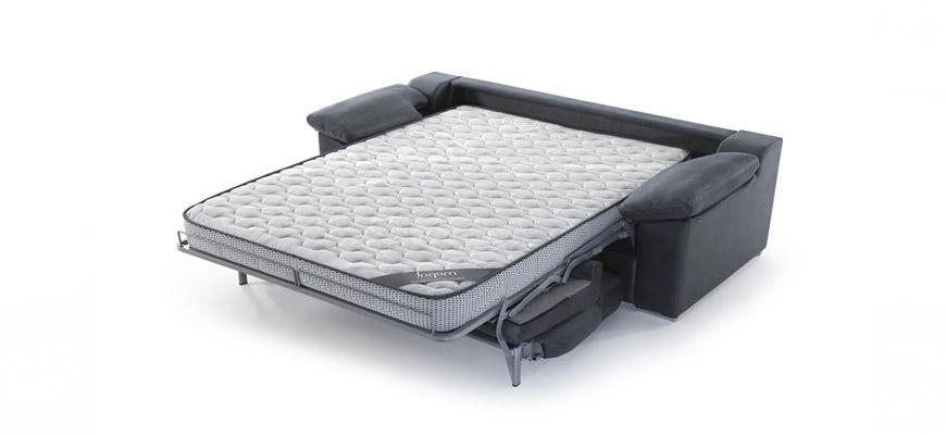 Sofá cama muy cómodo y con sistema de apertura italiana que incorpora colchón XL alto 16 cm. y de 2 metros de largo para un descanso perfecto.