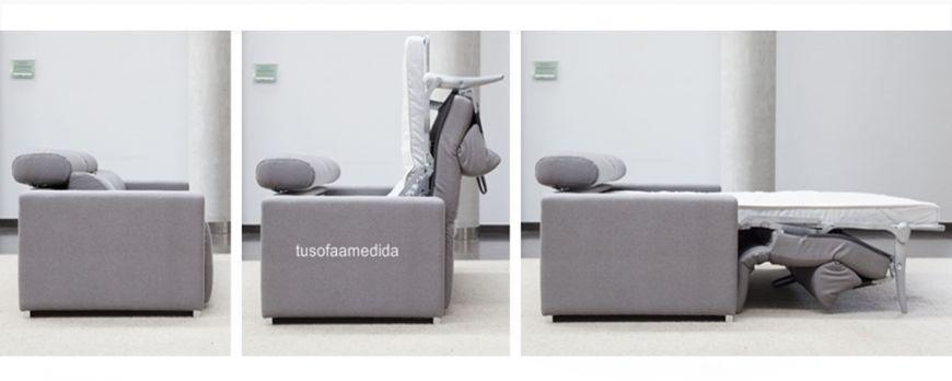 Sofá cama de calidad con apertura italiana y colchón alto XL 16 cm. Puedes combinar en el mismo sofá la cama con el asiento deslizante.
