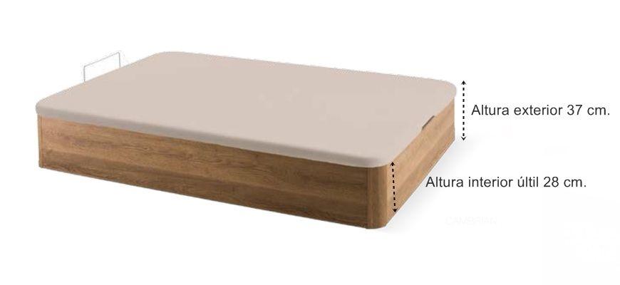Equipo de descanso formado por el colchón de Viscoelástica Dupplo con dos caras de descanso y el canapé abatible de madera Round de gran capacidad.